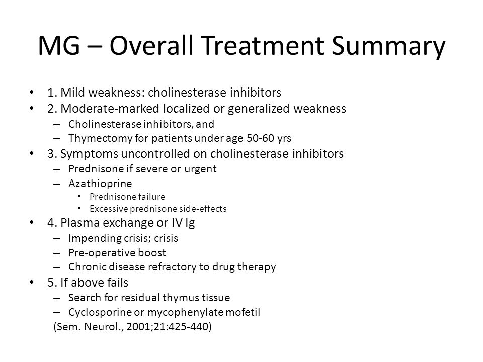 MG – Overall Treatment Summary 1. Mild weakness: cholinesterase inhibitors 2. Moderate-marked localized or generalized weakness – Cholinesterase inhib