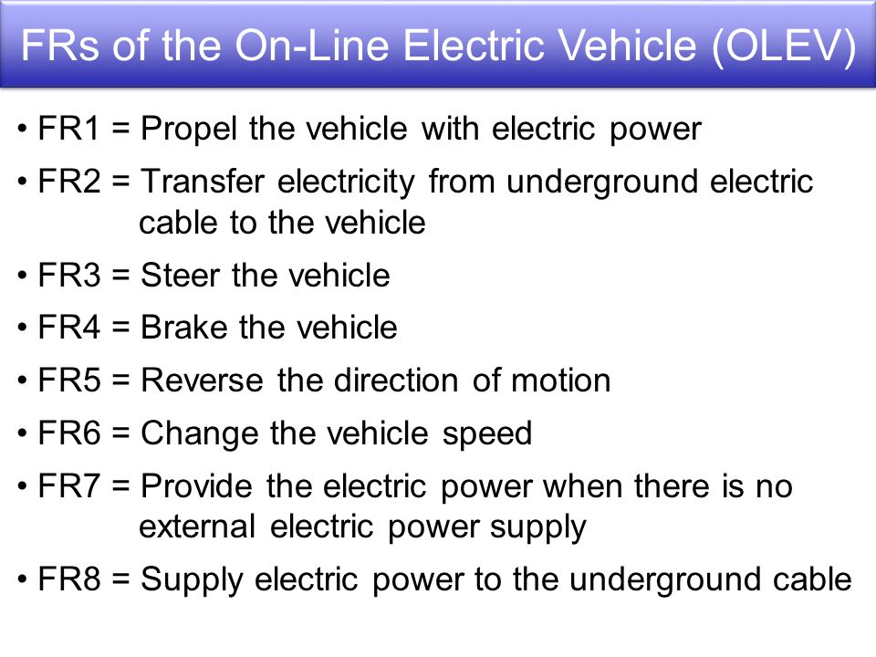 FR1 = Propel the vehicle with electric power FR2 = Transfer electricity from underground electric cable to the vehicle FR3 = Steer the vehicle FR4 = Brake the vehicle FR5 = Reverse the direction of motion FR6 = Change the vehicle speed FR7 = Provide the electric power when there is no external electric power supply FR8 = Supply electric power to the underground cable FRs of the On-Line Electric Vehicle (OLEV)