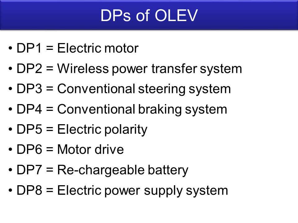 DPs of OLEV DP1 = Electric motor DP2 = Wireless power transfer system DP3 = Conventional steering system DP4 = Conventional braking system DP5 = Electric polarity DP6 = Motor drive DP7 = Re-chargeable battery DP8 = Electric power supply system
