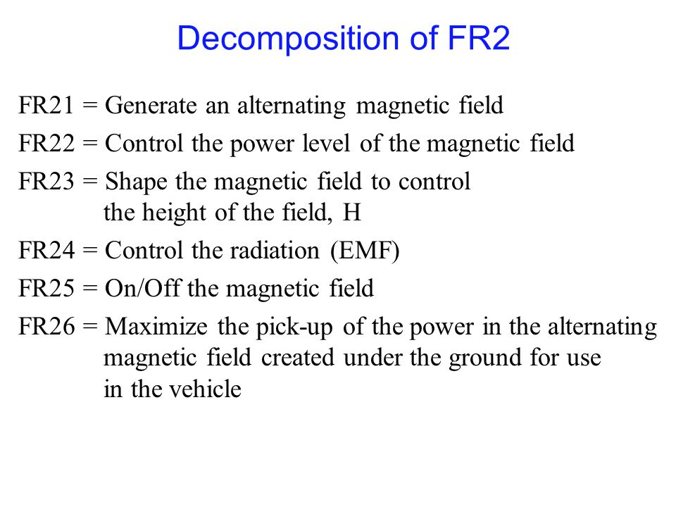 Decomposition of FR2 FR21 = Generate an alternating magnetic field FR22 = Control the power level of the magnetic field FR23 = Shape the magnetic field to control the height of the field, H FR24 = Control the radiation (EMF) FR25 = On/Off the magnetic field FR26 = Maximize the pick-up of the power in the alternating magnetic field created under the ground for use in the vehicle