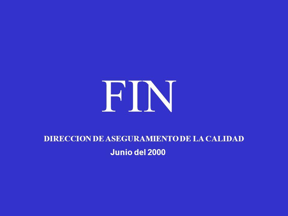 FIN DIRECCION DE ASEGURAMIENTO DE LA CALIDAD Junio del 2000