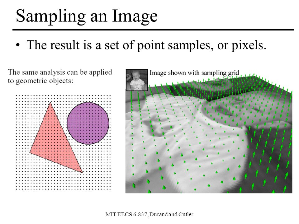 MIT EECS 6.837, Durand and Cutler Sampling an Image The result is a set of point samples, or pixels.