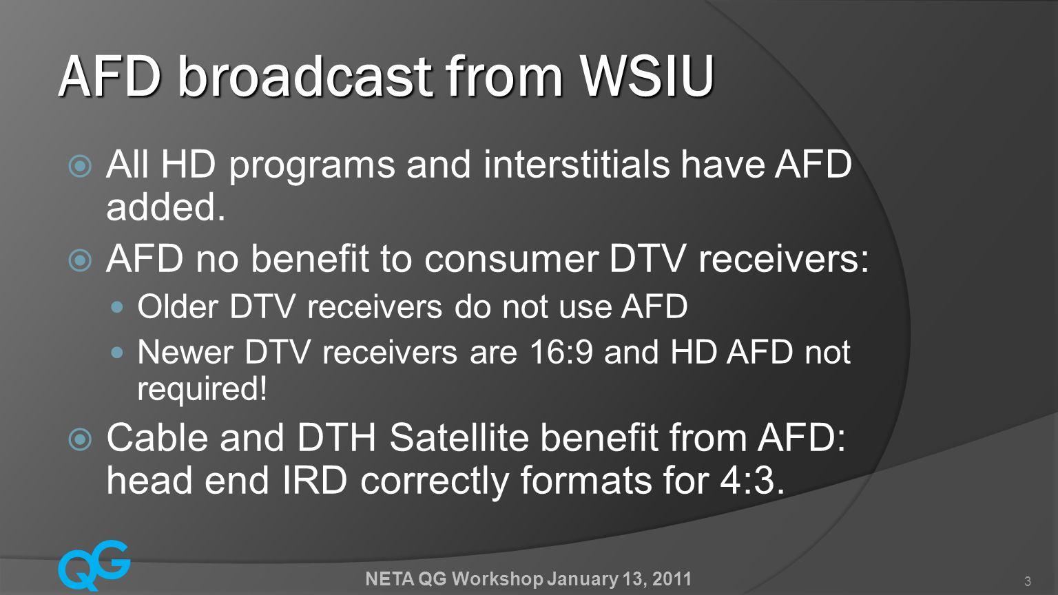 Q G NETA QG Workshop January 13, 2011 24 WSIU Playlist SVR1A – HD Playback SVR1B – SD Playback Formats for SVR1B (SD) NS = 4:3 Full Frame LB = 4:3,16:9 Letterbox WS=16:9 Full Frame PB =16:9,4:3 Pillarbox AFD for SVR1A (HD) -from HD File AFD for SVR1B (SD) NS = 9 (1001) LB = 8 (1000) WS = 8 (1000) PB = 9 (1001)