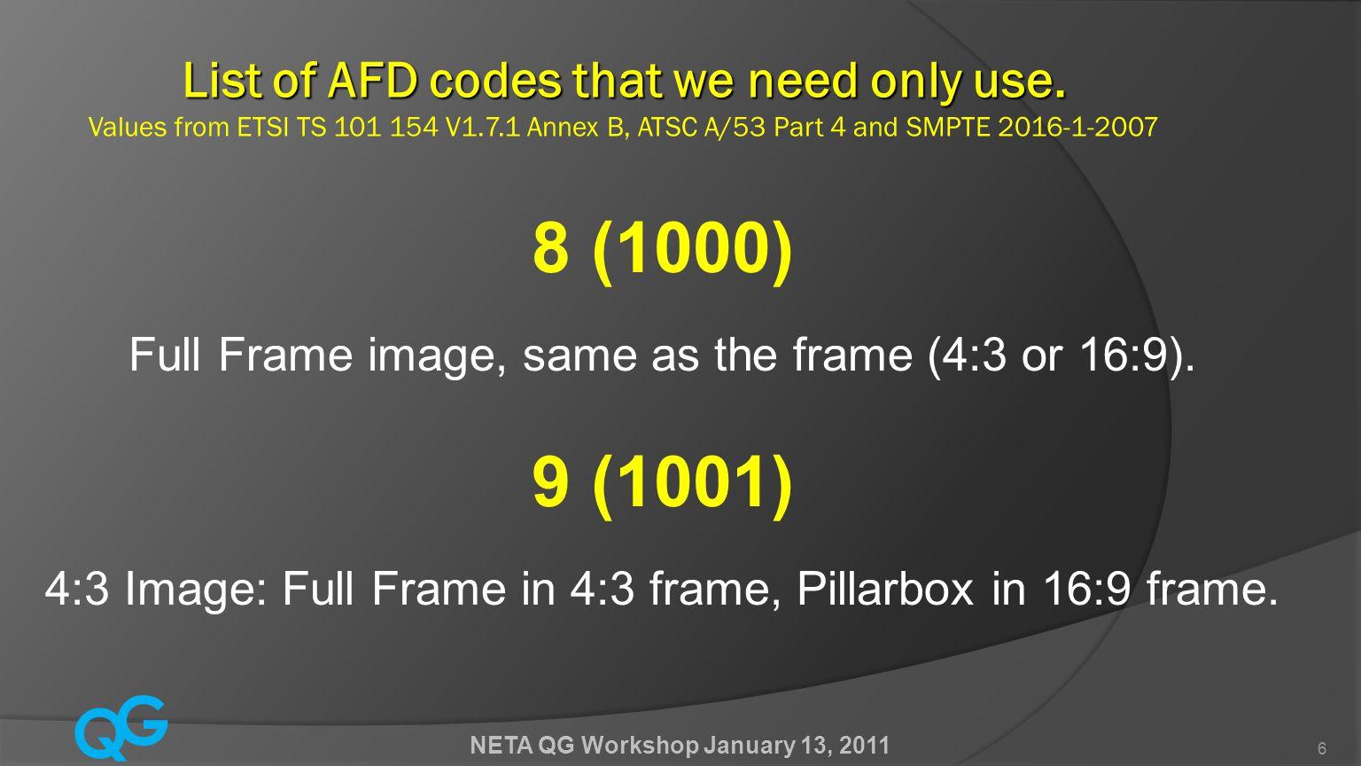 Q G NETA QG Workshop January 13, 2011 17 To Ensure the Highest Quality  Minimize unnecessary codec cycles.