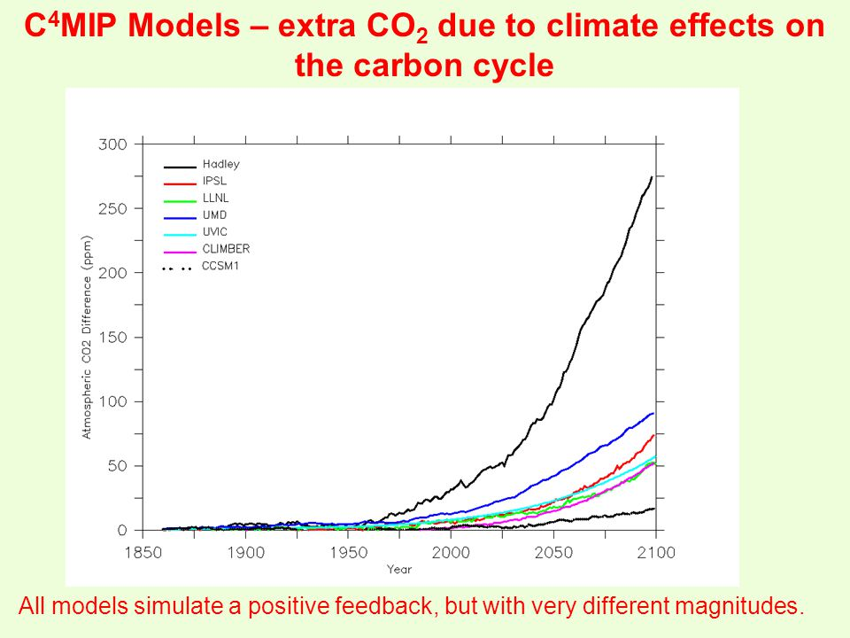 C 4 MIP Models – extra CO 2 due to climate effects on the carbon cycle All models simulate a positive feedback, but with very different magnitudes.