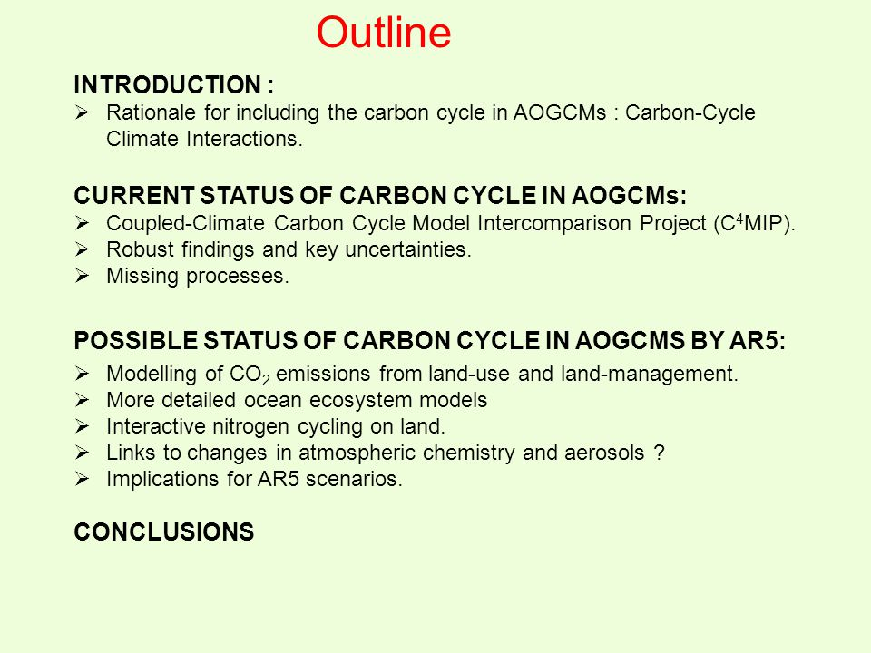 Outline INTRODUCTION :  Rationale for including the carbon cycle in AOGCMs : Carbon-Cycle Climate Interactions. CURRENT STATUS OF CARBON CYCLE IN AOG