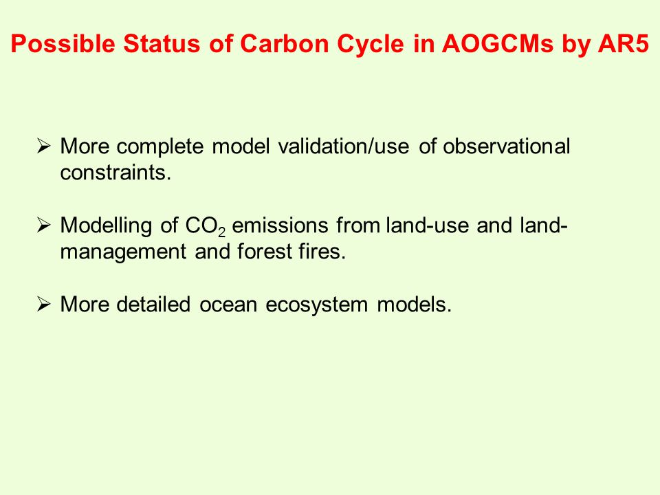 Possible Status of Carbon Cycle in AOGCMs by AR5  More complete model validation/use of observational constraints.  Modelling of CO 2 emissions from