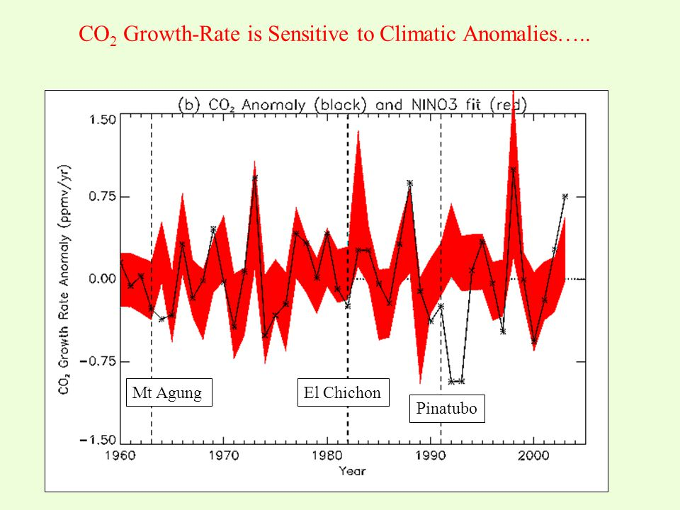 CO 2 Growth-Rate is Sensitive to Climatic Anomalies….. Fossil Fuels Total Land-use Change 2003 Anomaly Years after Volcanic Eruptions El Chichon Pinat