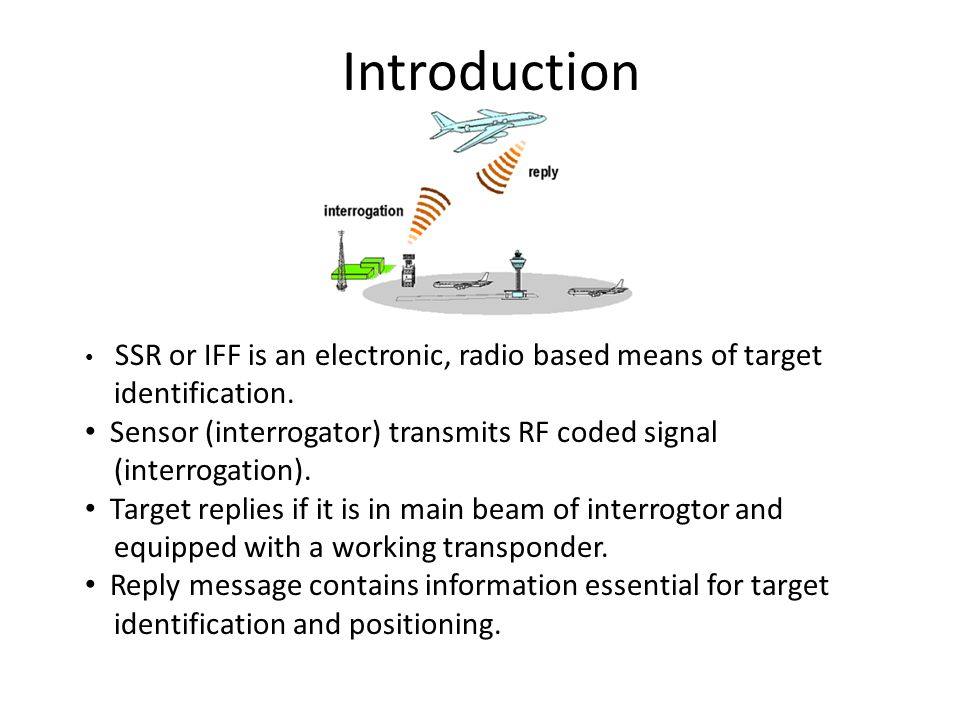 Introduction SSR or IFF is an electronic, radio based means of target identification.