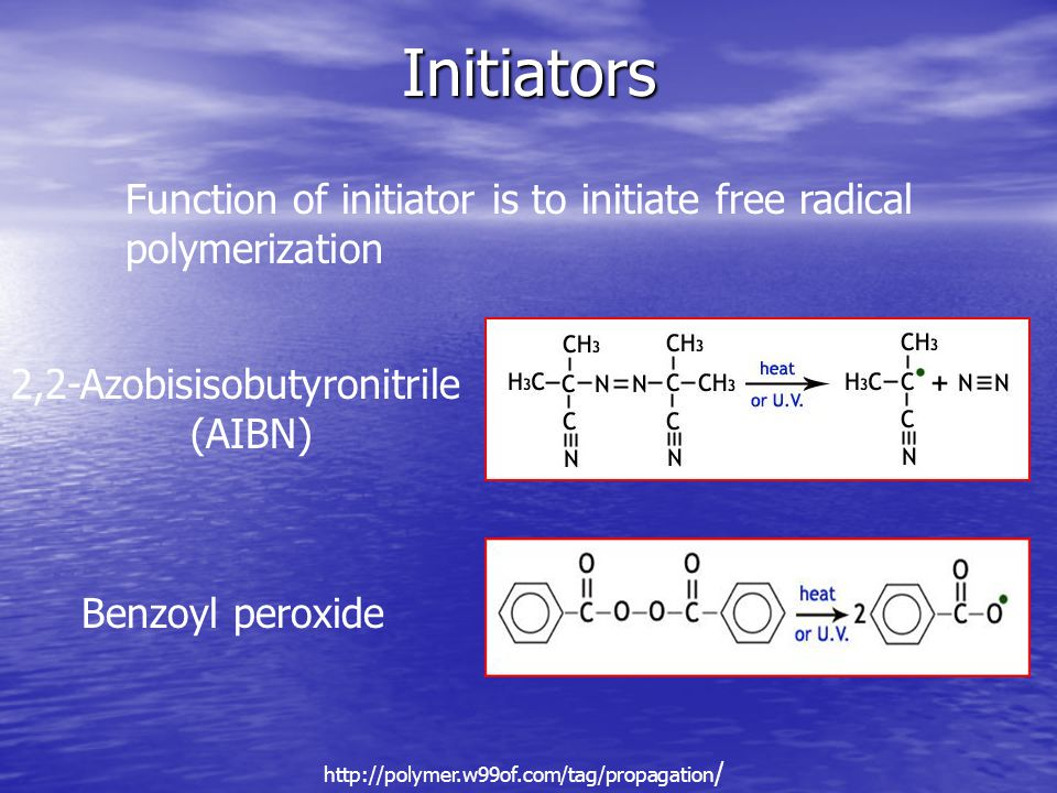 Initiators 2,2-Azobisisobutyronitrile (AIBN) Benzoyl peroxide http://polymer.w99of.com/tag/propagation / Function of initiator is to initiate free radical polymerization