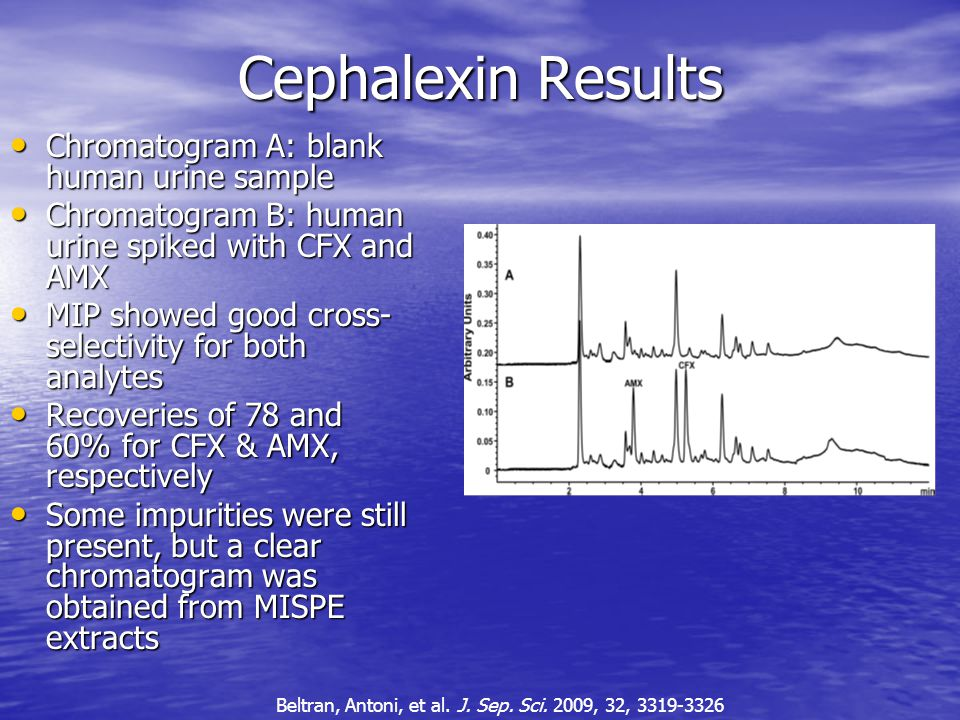 Cephalexin Results Chromatogram A: blank human urine sample Chromatogram A: blank human urine sample Chromatogram B: human urine spiked with CFX and AMX Chromatogram B: human urine spiked with CFX and AMX MIP showed good cross- selectivity for both analytes MIP showed good cross- selectivity for both analytes Recoveries of 78 and 60% for CFX & AMX, respectively Recoveries of 78 and 60% for CFX & AMX, respectively Some impurities were still present, but a clear chromatogram was obtained from MISPE extracts Some impurities were still present, but a clear chromatogram was obtained from MISPE extracts Beltran, Antoni, et al.