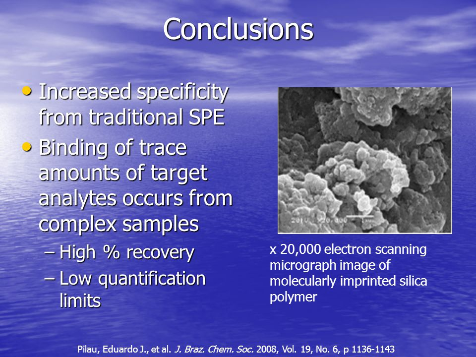 Conclusions Increased specificity from traditional SPE Increased specificity from traditional SPE Binding of trace amounts of target analytes occurs from complex samples Binding of trace amounts of target analytes occurs from complex samples –High % recovery –Low quantification limits x 20,000 electron scanning micrograph image of molecularly imprinted silica polymer Pilau, Eduardo J., et al.