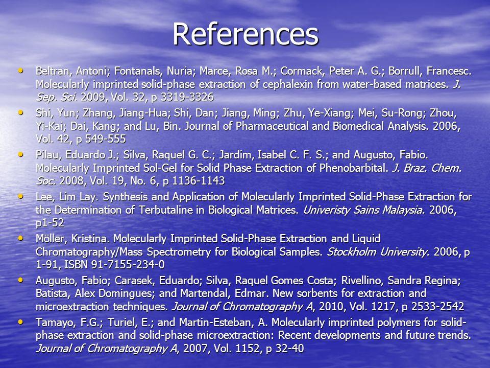 References Beltran, Antoni; Fontanals, Nuria; Marce, Rosa M.; Cormack, Peter A.