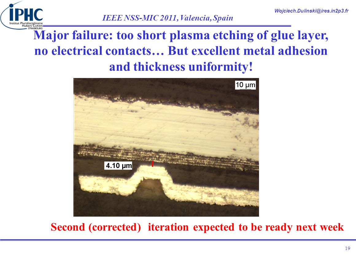 Wojciech.Dulinski@ires.in2p3.fr IEEE NSS-MIC 2011, Valencia, Spain 19 Major failure: too short plasma etching of glue layer, no electrical contacts… But excellent metal adhesion and thickness uniformity.