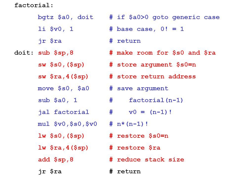 factorial: bgtz $a0, doit # if $a0>0 goto generic case li $v0, 1 # base case, 0! = 1 jr $ra # return doit: sub $sp,8 # make room for $s0 and $ra sw $s