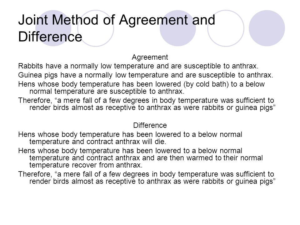 Joint Method of Agreement and Difference Agreement Rabbits have a normally low temperature and are susceptible to anthrax.