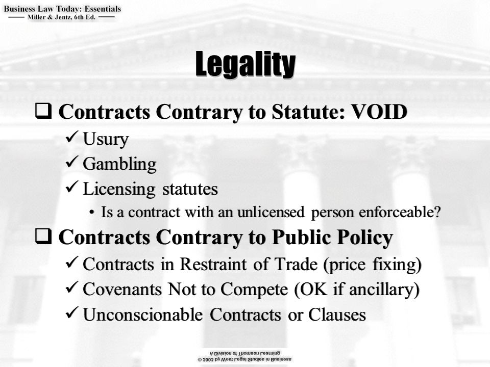 Legality  Contracts Contrary to Statute: VOID Usury Gambling Licensing statutes Is a contract with an unlicensed person enforceable?  Contracts Cont
