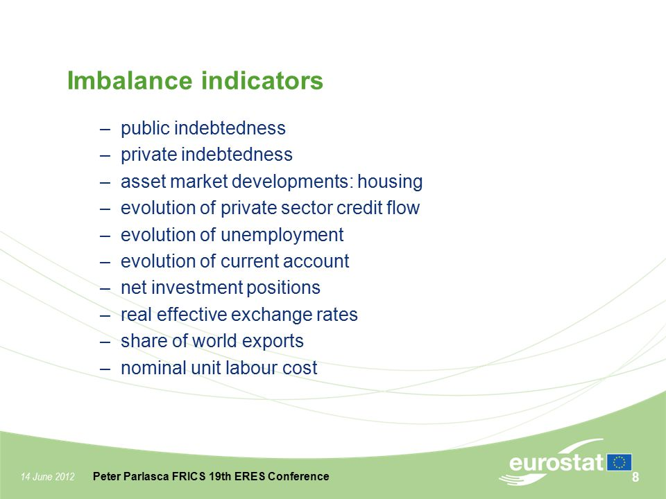 14 June 2012 Peter Parlasca FRICS 19th ERES Conference Imbalance indicators –public indebtedness –private indebtedness –asset market developments: hou
