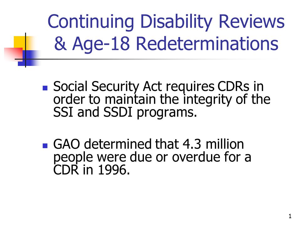 1 Continuing Disability Reviews & Age-18 Redeterminations Social Security Act requires CDRs in order to maintain the integrity of the SSI and SSDI pro