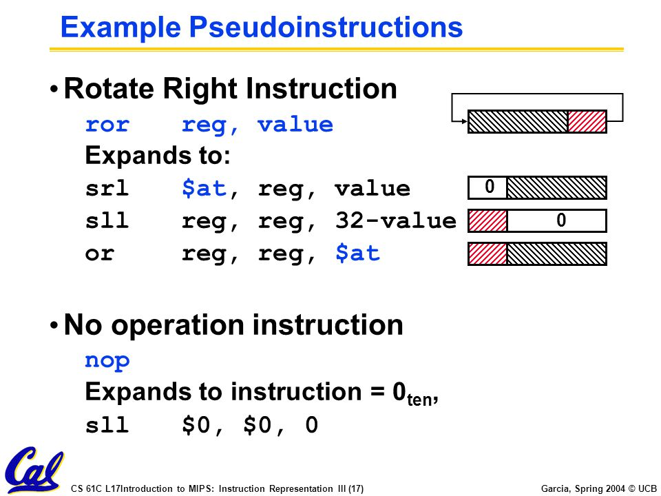 CS 61C L17Introduction to MIPS: Instruction Representation III (17) Garcia, Spring 2004 © UCB Example Pseudoinstructions Rotate Right Instruction rorreg, value Expands to: srl$at, reg, value sllreg, reg, 32-value orreg, reg, $at 0 0 No operation instruction nop Expands to instruction = 0 ten, sll$0, $0, 0
