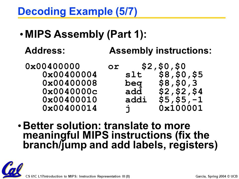 CS 61C L17Introduction to MIPS: Instruction Representation III (8) Garcia, Spring 2004 © UCB Decoding Example (5/7) MIPS Assembly (Part 1): Address:Assembly instructions: 0x00400000 or $2,$0,$0 0x00400004 slt $8,$0,$5 0x00400008 beq $8,$0,3 0x0040000c add $2,$2,$4 0x00400010 addi $5,$5,-1 0x00400014 j 0x100001 Better solution: translate to more meaningful MIPS instructions (fix the branch/jump and add labels, registers)