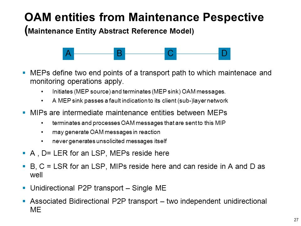 27 OAM entities from Maintenance Pespective ( Maintenance Entity Abstract Reference Model)  MEPs define two end points of a transport path to which maintenace and monitoring operations apply.