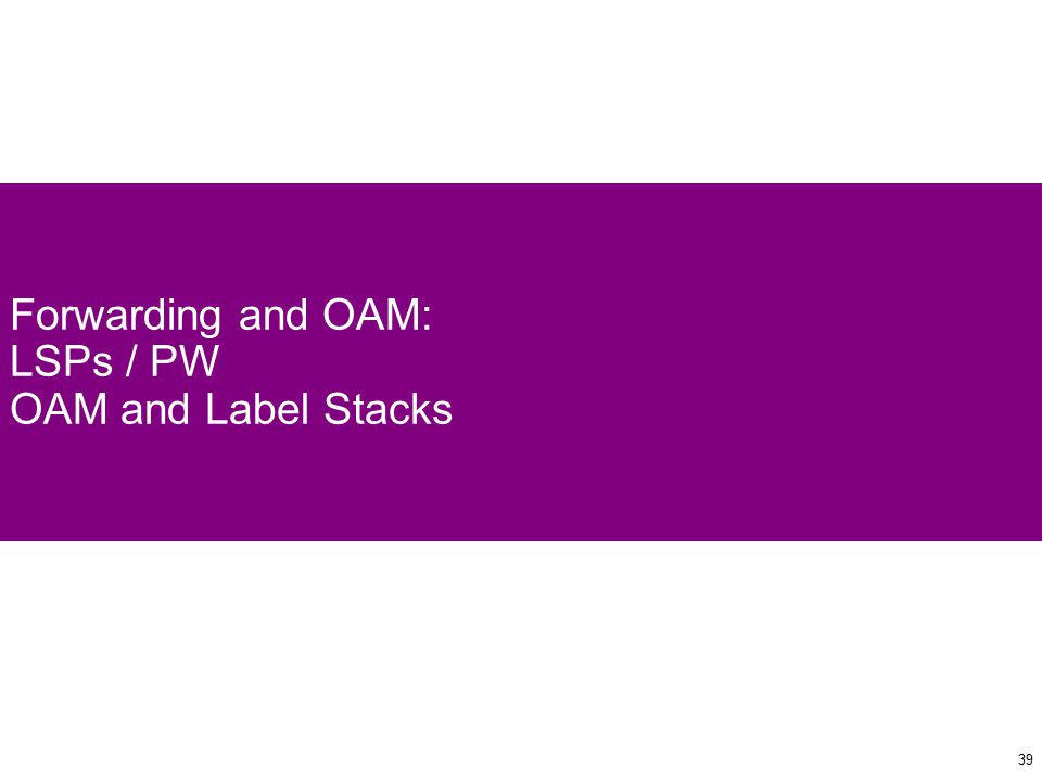 39 Forwarding and OAM: LSPs / PW OAM and Label Stacks