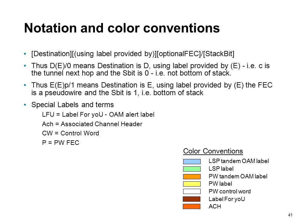 41 Notation and color conventions [Destination][(using label provided by)][optionalFEC]/[StackBit] Thus D(E)/0 means Destination is D, using label provided by (E) - i.e.