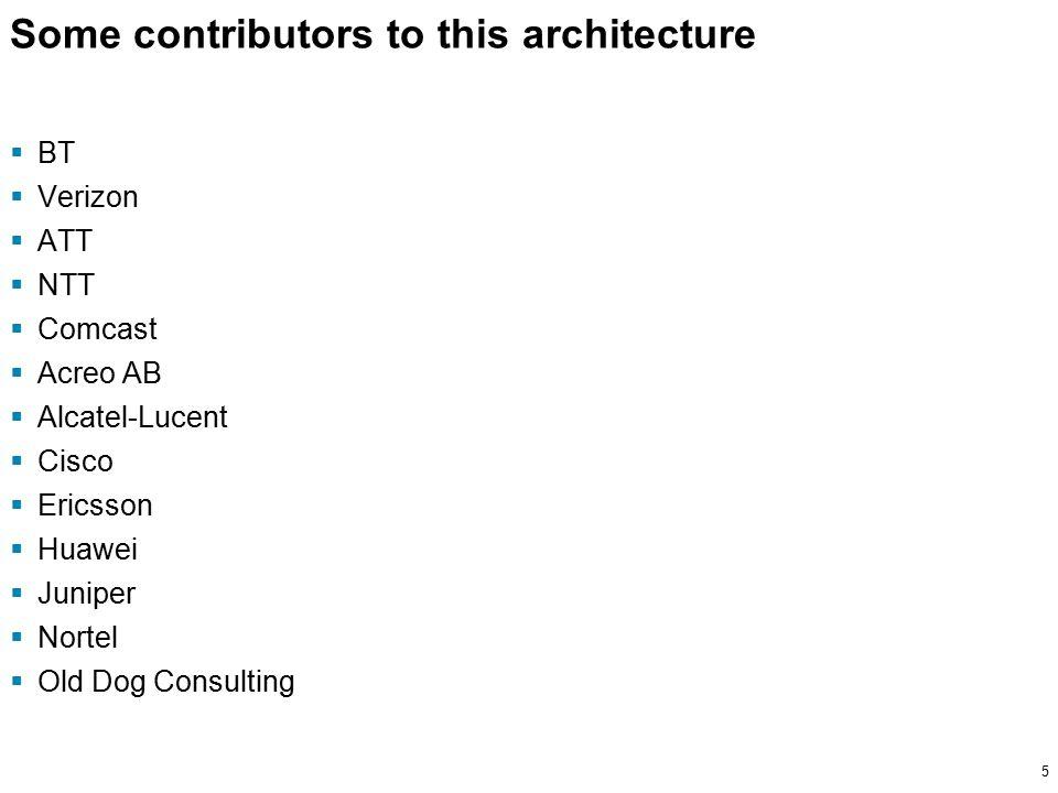 5 Some contributors to this architecture  BT  Verizon  ATT  NTT  Comcast  Acreo AB  Alcatel-Lucent  Cisco  Ericsson  Huawei  Juniper  Nortel  Old Dog Consulting