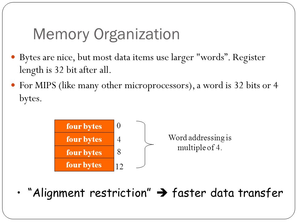 Memory Organization Bytes are nice, but most data items use larger words .