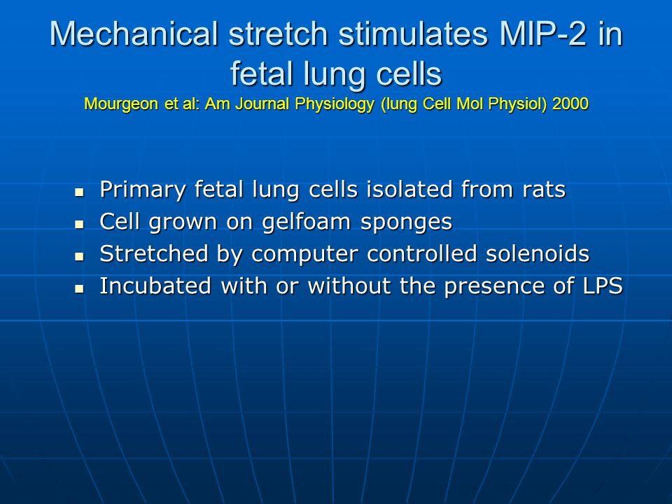 Mechanical stretch stimulates MIP-2 in fetal lung cells Mourgeon et al: Am Journal Physiology (lung Cell Mol Physiol) 2000 Primary fetal lung cells isolated from rats Primary fetal lung cells isolated from rats Cell grown on gelfoam sponges Cell grown on gelfoam sponges Stretched by computer controlled solenoids Stretched by computer controlled solenoids Incubated with or without the presence of LPS Incubated with or without the presence of LPS