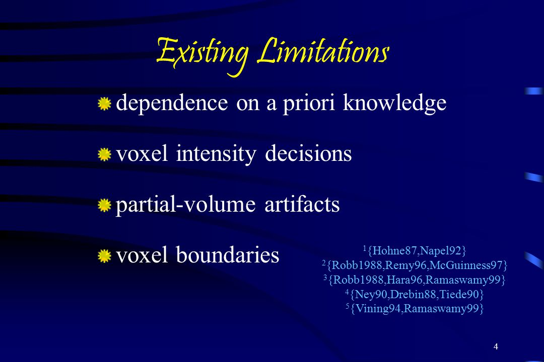4 Existing Limitations dependence on a priori knowledge voxel intensity decisions partial-volume artifacts voxel boundaries 1 {Hohne87,Napel92} 2 {Robb1988,Remy96,McGuinness97} 3 {Robb1988,Hara96,Ramaswamy99} 4 {Ney90,Drebin88,Tiede90} 5 {Vining94,Ramaswamy99}