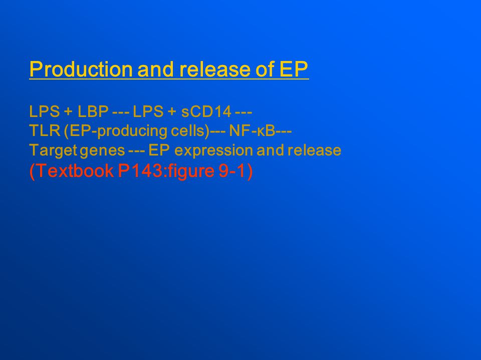 Production and release of EP LPS + LBP --- LPS + sCD14 --- TLR (EP-producing cells)--- NF-κB--- Target genes --- EP expression and release (Textbook P143:figure 9-1)