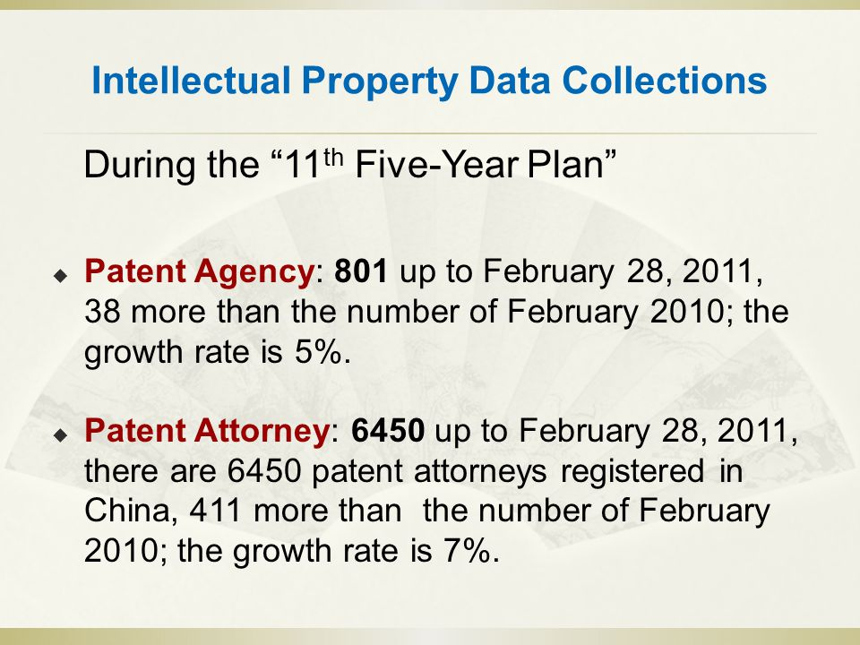 Intellectual Property Data Collections During the 11 th Five-Year Plan  Patent Agency: 801 up to February 28, 2011, 38 more than the number of February 2010; the growth rate is 5%.