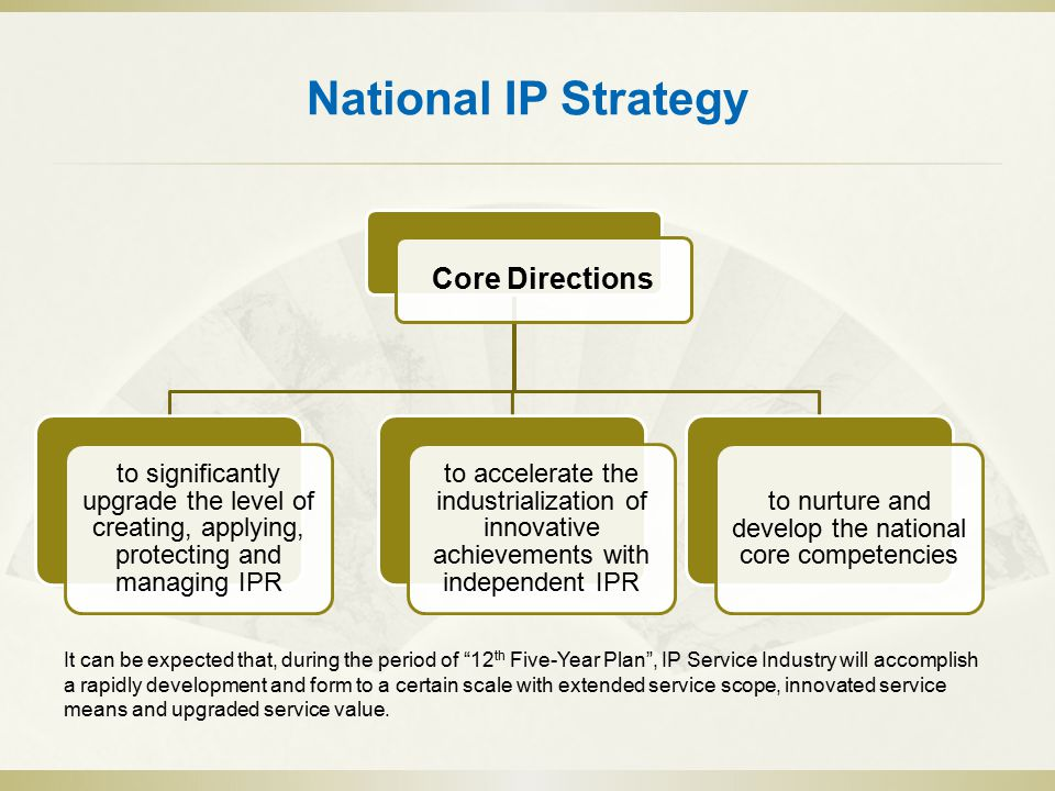 National IP Strategy Core Directions to significantly upgrade the level of creating, applying, protecting and managing IPR to accelerate the industrialization of innovative achievements with independent IPR to nurture and develop the national core competencies It can be expected that, during the period of 12 th Five-Year Plan , IP Service Industry will accomplish a rapidly development and form to a certain scale with extended service scope, innovated service means and upgraded service value.