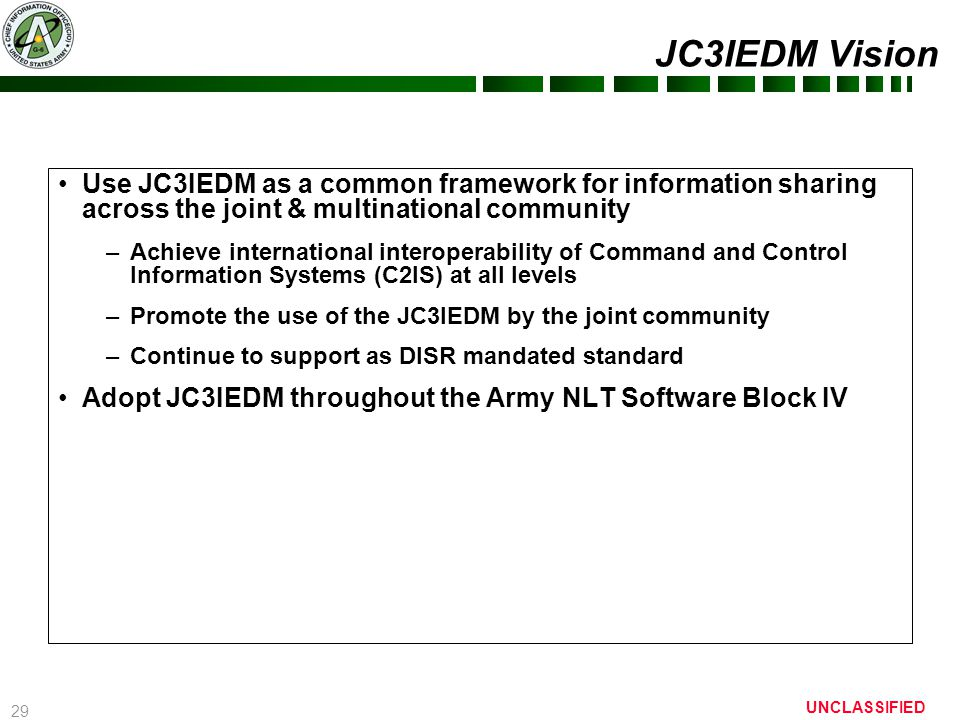 29 UNCLASSIFIED JC3IEDM Vision Use JC3IEDM as a common framework for information sharing across the joint & multinational community –Achieve internati