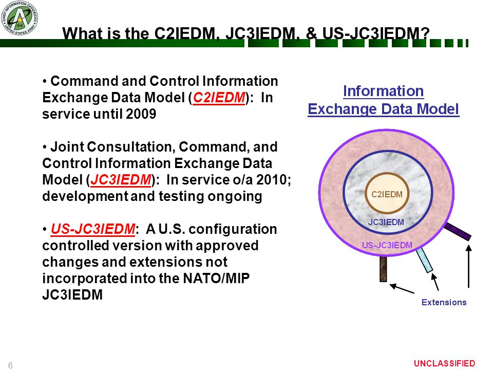 6 UNCLASSIFIED Command and Control Information Exchange Data Model (C2IEDM): In service until 2009 Joint Consultation, Command, and Control Information Exchange Data Model (JC3IEDM): In service o/a 2010; development and testing ongoing US-JC3IEDM: A U.S.