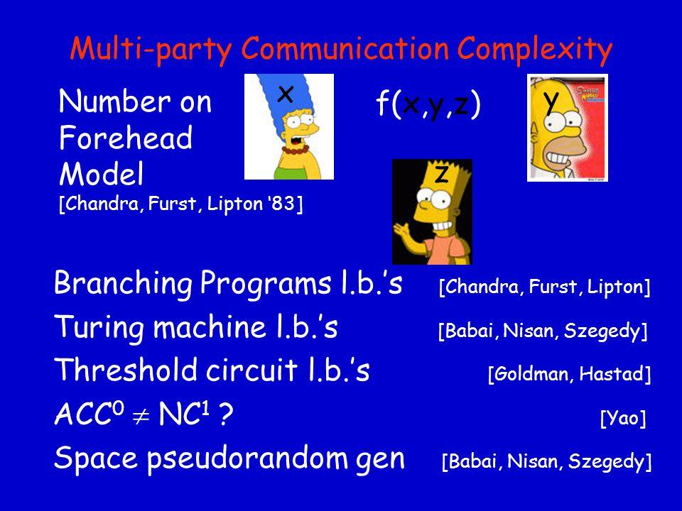 Multi-party Communication Complexity Branching Programs l.b.'s [Chandra, Furst, Lipton] Turing machine l.b.'s [Babai, Nisan, Szegedy] Threshold circuit l.b.'s [Goldman, Hastad] ACC 0  NC 1 .