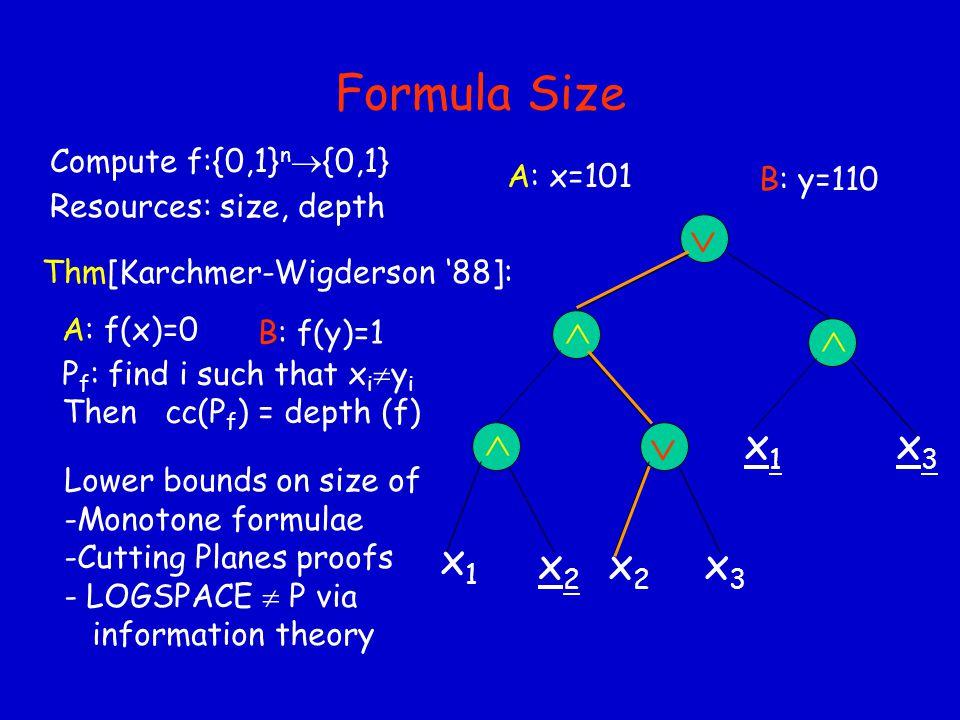 VLSI & Distributed Computing Compute f:{0,1} n  {0,1} Resources: Area, Time Thm:[Aho,Ullman, Yannakakis '83] (  Area)(Time)  cc'(f)   (n) x1x1 x3x3 x2x2 f AB
