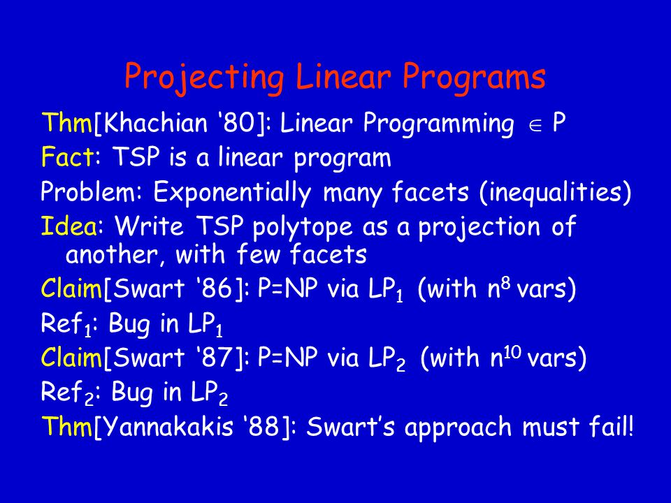 Projecting Linear Programs Thm[Khachian '80]: Linear Programming  P Fact: TSP is a linear program Problem: Exponentially many facets (inequalities) Idea: Write TSP polytope as a projection of another, with few facets Claim[Swart '86]: P=NP via LP 1 (with n 8 vars) Ref 1 : Bug in LP 1 Claim[Swart '87]: P=NP via LP 2 (with n 10 vars) Ref 2 : Bug in LP 2 Thm[Yannakakis '88]: Swart's approach must fail!