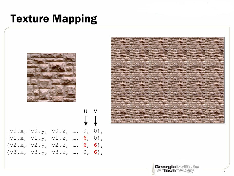 16 Texture Mapping {v0.x, v0.y, v0.z, …, 0, 0}, {v1.x, v1.y, v1.z, …, 6, 0}, {v2.x, v2.y, v2.z, …, 6, 6}, {v3.x, v3.y, v3.z, …, 0, 6}, uv