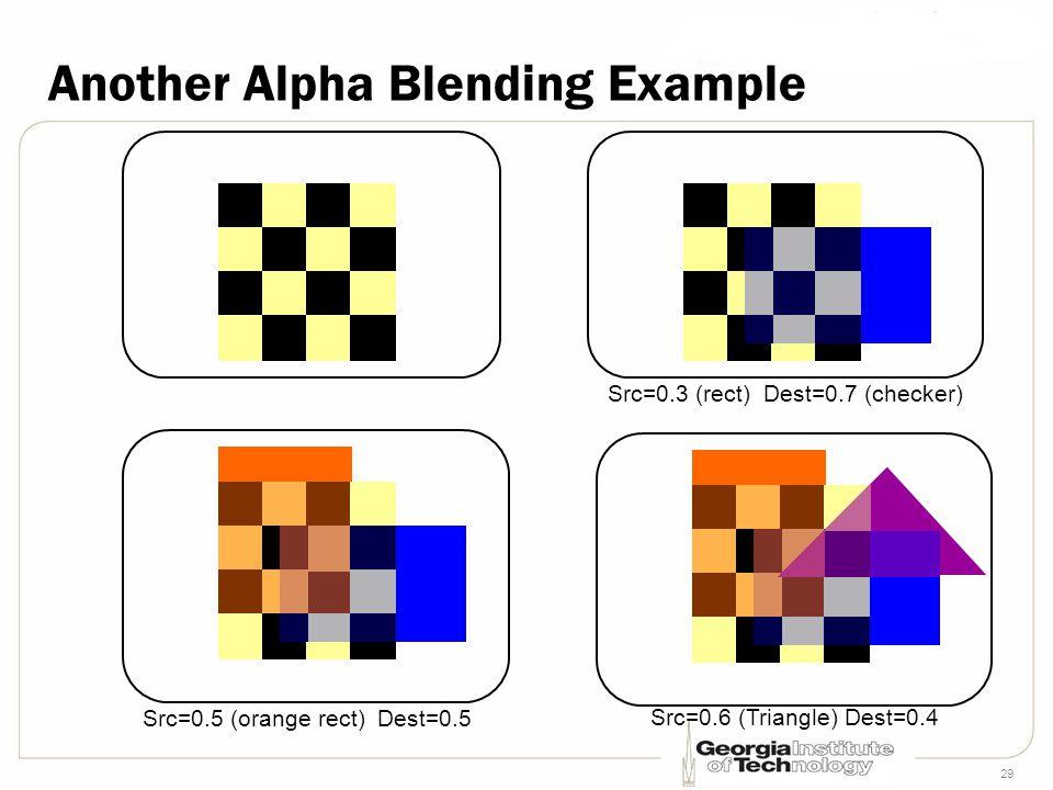 29 Another Alpha Blending Example Src=0.3 (rect) Dest=0.7 (checker) Src=0.5 (orange rect) Dest=0.5 Src=0.6 (Triangle) Dest=0.4