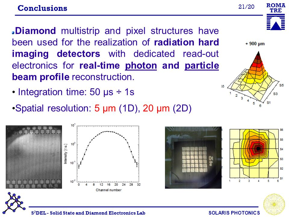 S 2 DEL - Solid State and Diamond Electronics Lab SOLARIS PHOTONICS ROMA TRE 21/20 Conclusions Diamond multistrip and pixel structures have been used for the realization of radiation hard imaging detectors with dedicated read-out electronics for real-time photon and particle beam profile reconstruction.