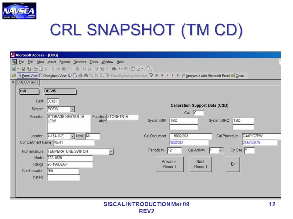SISCAL INTRODUCTION Mar 09 REV2 12 CRL SNAPSHOT (TM CD)