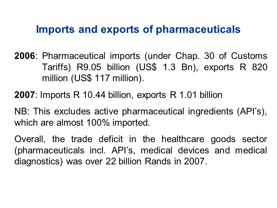 Imports and exports of pharmaceuticals 2006: Pharmaceutical imports (under Chap.