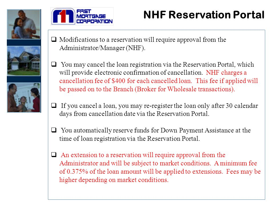  Modifications to a reservation will require approval from the Administrator/Manager (NHF).