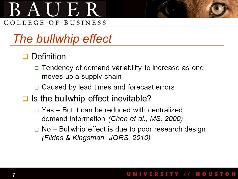 7 The bullwhip effect  Definition  Tendency of demand variability to increase as one moves up a supply chain  Caused by lead times and forecast err