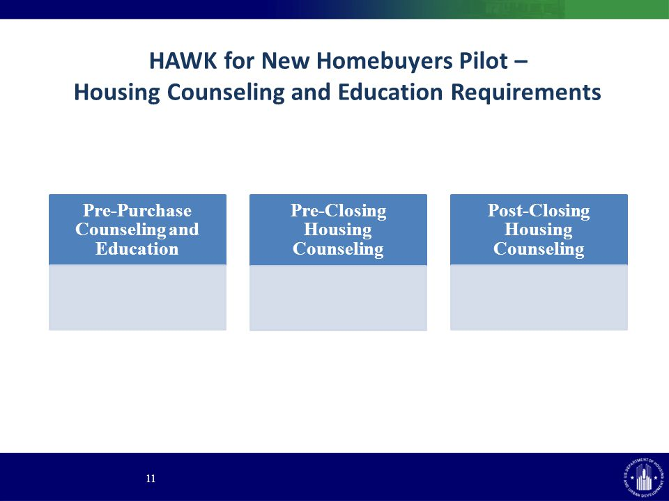 HAWK for New Homebuyers Pilot – Housing Counseling and Education Requirements 11 Pre-Purchase Counseling and Education Pre-Closing Housing Counseling Post-Closing Housing Counseling