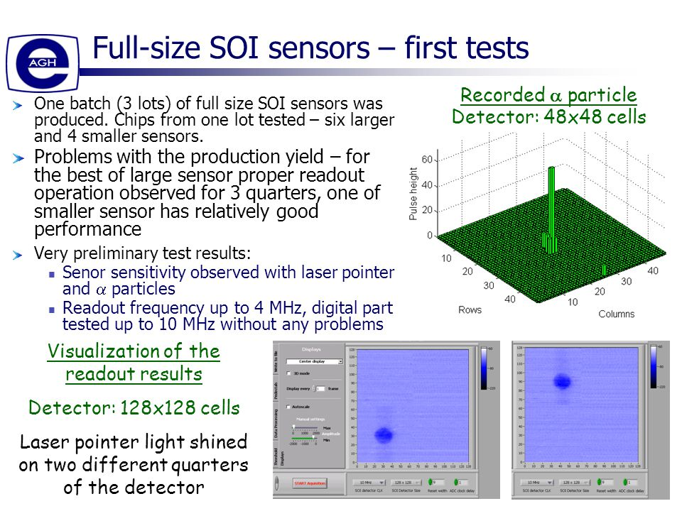 15 Full-size SOI sensors – first tests One batch (3 lots) of full size SOI sensors was produced.