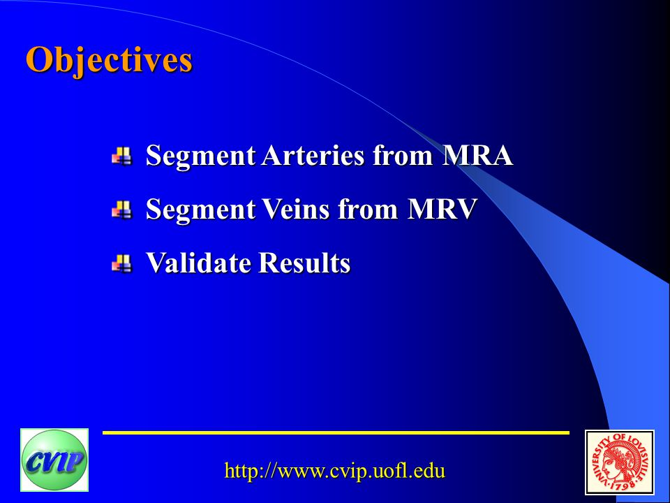 http://www.cvip.uofl.edu Objectives Segment Arteries from MRA Segment Veins from MRV Validate Results